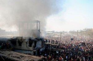 A garment factory in fire at Mohammadpur, Dhaka, Bangladesh.